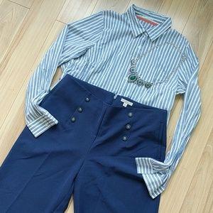 High waisted sailor dress pants colbalt blue